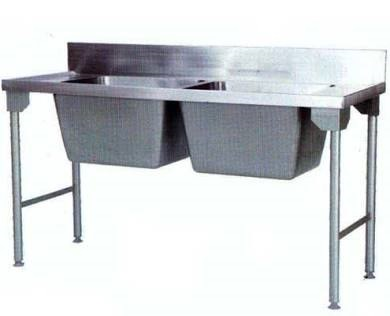 DOUBLE BOWL POT SINK 1600X650X900MM (2 BOWLS SIZE 500X500X250) INCL LEGS AND SLATTED SHELF