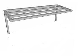 WALL POT RACK SINGLE ROW STAINLESS STEEL 25X25MM SQUARE TUBE - 300MM WIDE PER METER