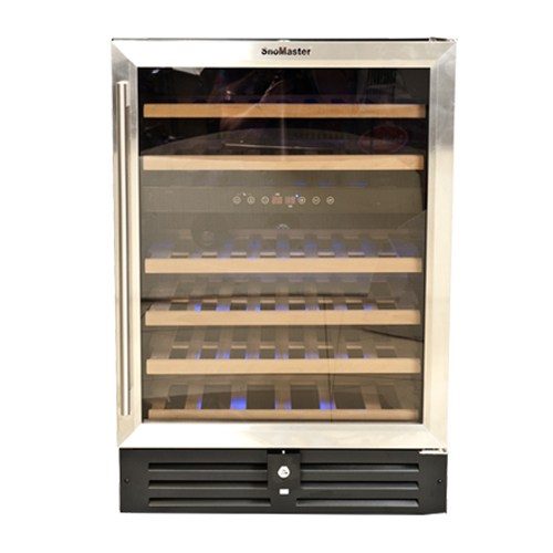 WINE CHILLER  46 BOTTLE BLACK CABINET WITH GLASS DOOR , STAINLESS STEEL FRAME, DUAL ZONE (PRICE EXCLUDES DELIVERY OUTSIDE GAUTENG)