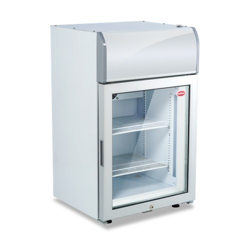 GLASS TOP FREEZER 70LT WITH HEADER (530X490X880) PRICE EXCLUDES DELIVERY OUTSIDE GAUTENG