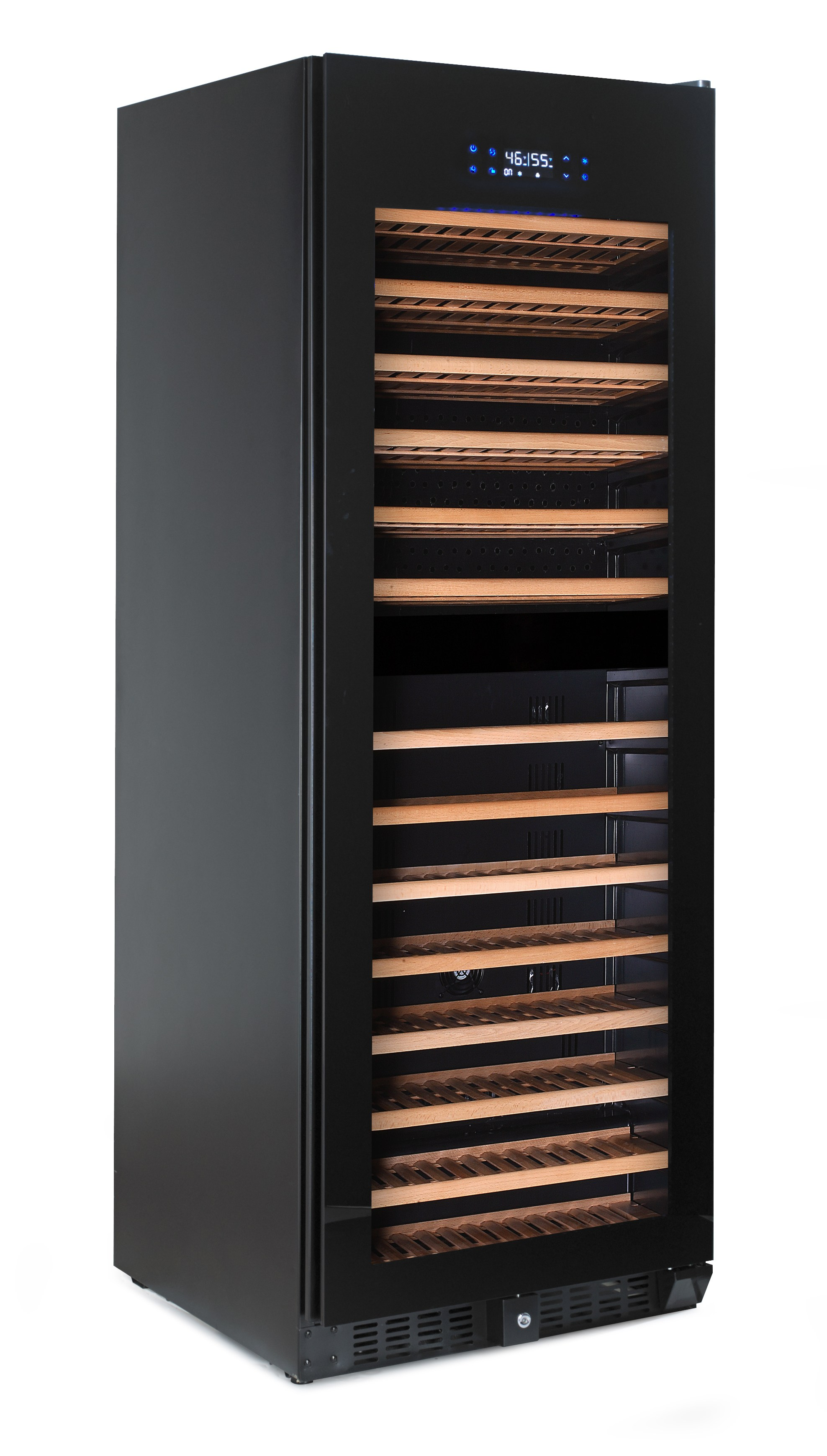 WINE CHILLER  181 BOTTLE BLACK CABINET WITH GLASS DOOR DUAL SIZE  (PRICE EXCLUDES DELIVERY OUTSIDE GAUTENG)