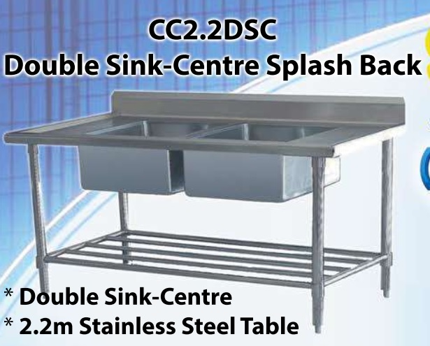 POT SINK DOUBLE CENTRE BOWLS WITH SPASHBACK (2200X600X920MM)