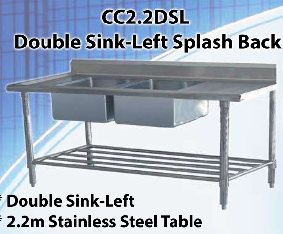 POT SINK DOUBLE LEFT BOWLS WITH SPASHBACK (2200X600X920MM)