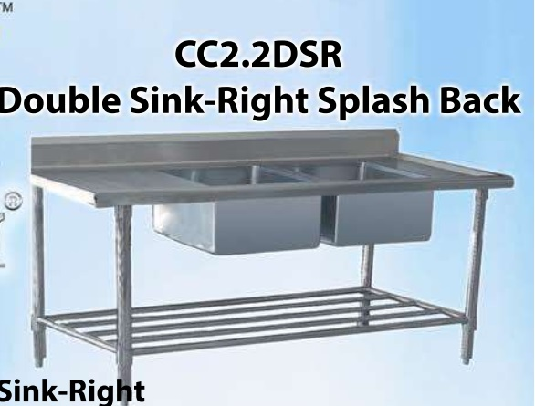 POT SINK DOUBLE RIGHT HAND SIDE BOWLS (2200X600X920MM)