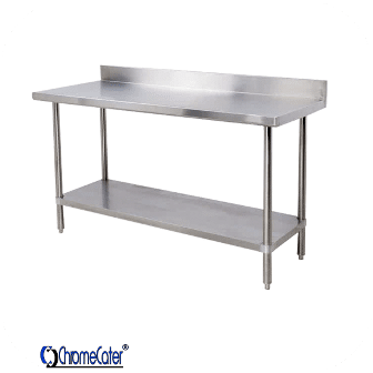 STAINLESS STEEL TABLE SPLASHBACK WITH GALVINISED  UNDERSHELF & LEGS  1.2 METER