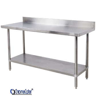 SPLASH BACK STAINLESS STEEL TABLE  CC2.4SB