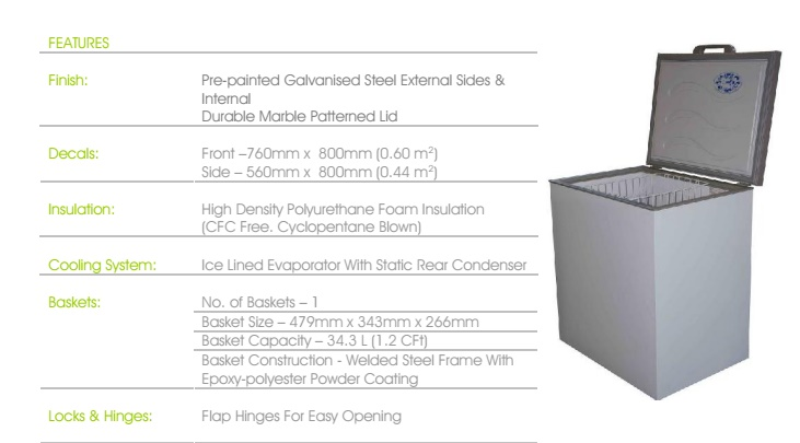 CHEST FREEZER  192L R550CF R600a MULTIMODE T/STAT BACK STEP