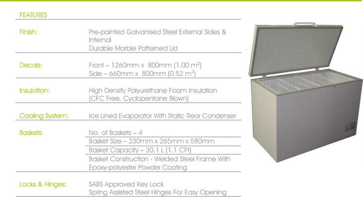 CHEST FREEZER  460L R650CF R600a MULTIMODE T/STAT BWC