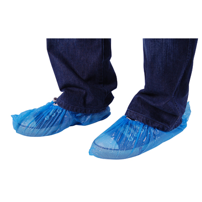 DISPOSABLE PLASTIC SHOE COVERS - BLUE