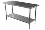 CATERING TABLE 1.2M PLAINTOP WITH UNDERSHELF & LEGS -  S/STEEL