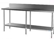 CATERING TABLE SPLASHBACK - S/STEEL 2.4M WITH UNDERSHELF AND LEGS