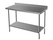 CATERING TABLE 1.2M SPLASHBACK WITH UNDERSHELF & LEGS -  S/STEEL